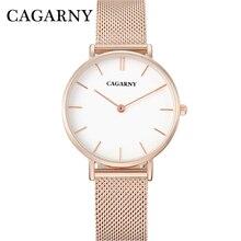 Watch Women Rose Gold Luxury Brand Cagarny Women's Wastches Fashion Quartz Wristwatches Steel Mesh Bracelet Watch Montre Femme