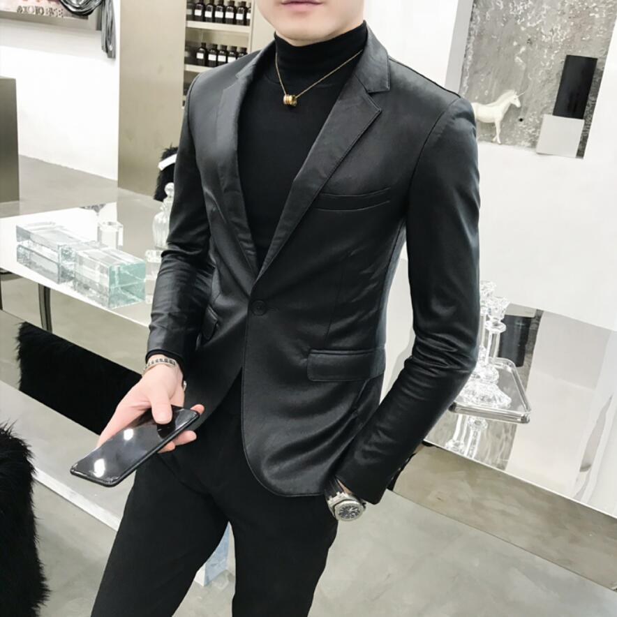 2019 Autumn Men's PU Leather Jacket For Men Fitness Fashion Male Suede Jacket Casaco Masculino Casual Coat Male Clothing 4XL