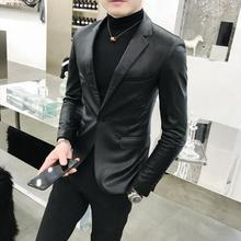 2019 Autumn Men's PU Leather Jacket for Men Fitness Fashion Male Suede