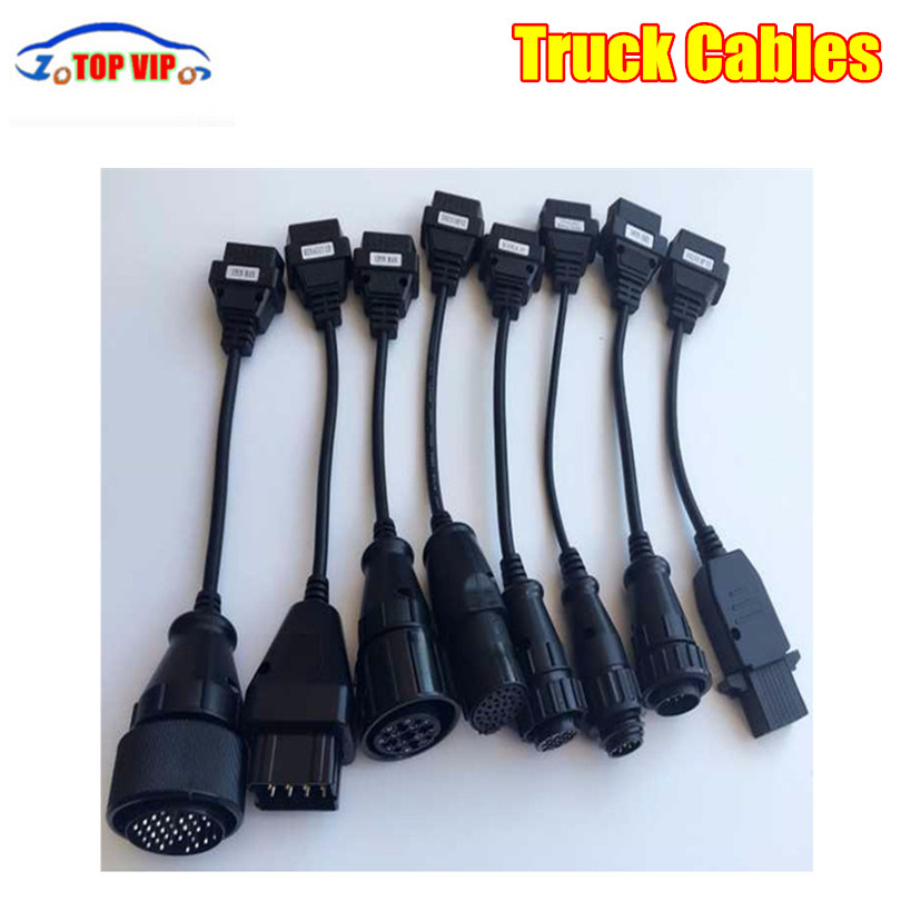 1/2/3sets Truck Cables CDP Pro OBD OBD2 OBDII Trucks Diagnostic connect cables 8 pcs Cables For TCS CDP Plus For For many cars