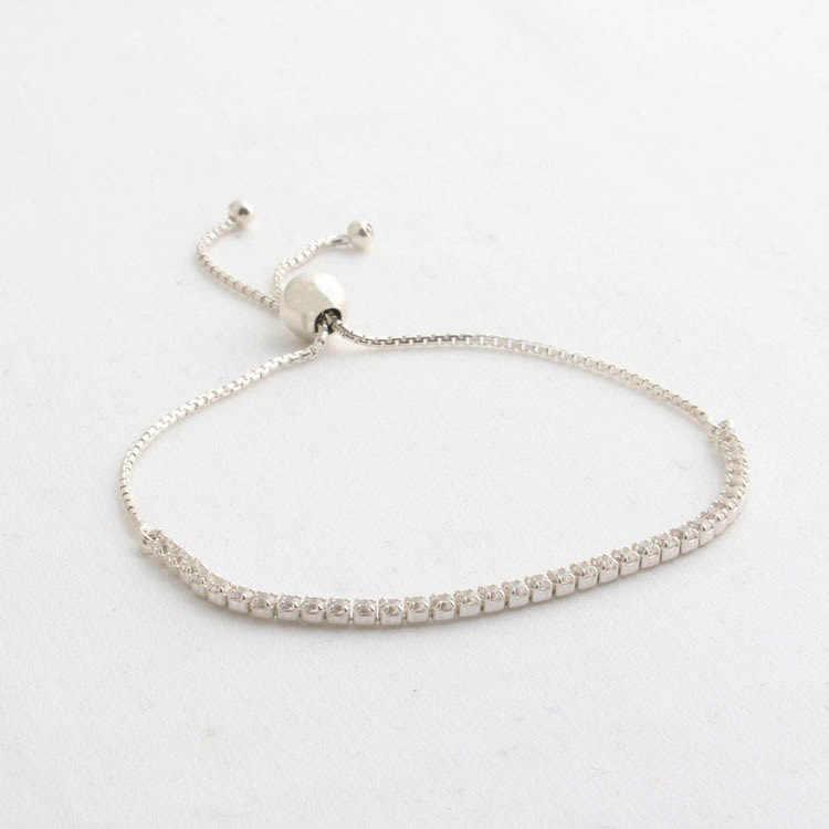 7481875d1 ... 925 Sterling Silver Pandora Bracelet Classic Tennis Sparkling Strand  Adjust Bracelet Bangle Fit Women Bead Charm ...