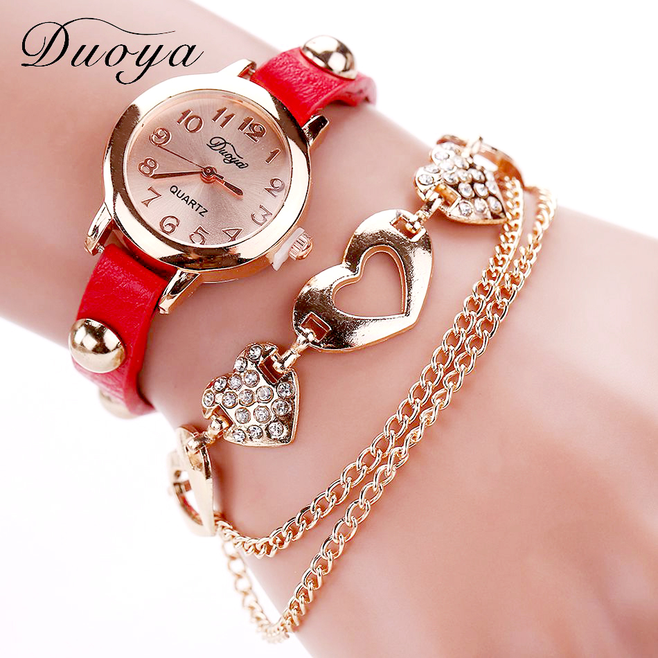 Rose Gold Watch And Heart Bracelet - red