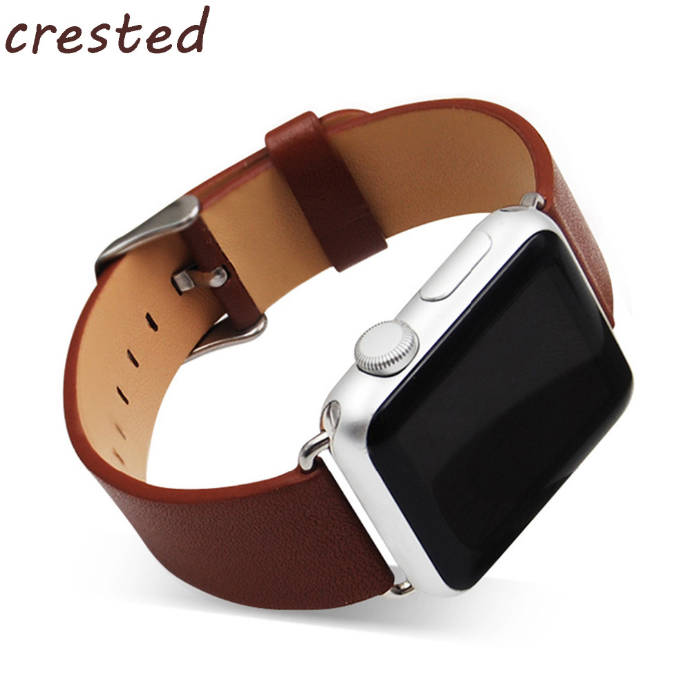 CRESTED genuine leather watchband starp for apple watch band 42mm 38mm  Wrist Strap Bracelets for iwatch 1/2/3 6 colors luxury genuine leather watchband for apple watch sport iwatch 38mm 42mm watch wrist strap bracelect replacement