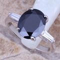 Delightful Black Created Sapphire White CZ Silver Plated Stamped 925 Fashion  Ring Size 6 / 7 / 8 / 9  R0064