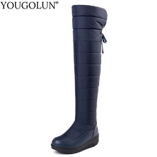 купить Down Thigh High Snow Boots Women Warm Winter Woman Flat Platform Shoes A312 Fashion Ladies Black Blue Over The Knee Winter Boots по цене 2192.32 рублей