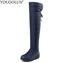 Down Thigh High Snow Boots Women Warm Winter Woman Flat Platform Shoes A312 Fashion Ladies Black Blue Over The Knee Winter Boots(China)