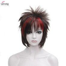 合成かつらパンク髪型ショートストレートヘア黒/赤かつら男 StrongBeauty