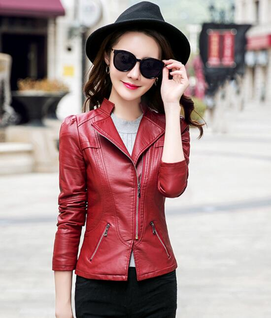 New 2018 fashion   leather   lady short paragraph red black   leather   jacket pu motorcycle collar short jacket