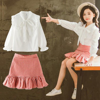 DFXD Big Girls Clothing Set High Quality Spring White Lace Bowknot Collar Princess Blouse+Red Plaid Fishtail Skirt Girls Outfits