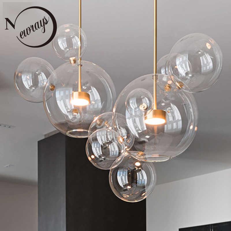 Современный Креативный прозрачный стеклянный пузырьковый шар светодиодный подвесной светильник для кухни, спальни, магазина, кафе, интерьерное освещение, декоративная Подвесная лампа