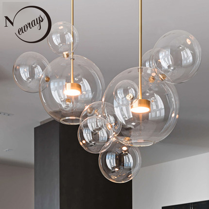 Modern Creative Clear Glass Bubble Ball LED Pendant Lights Kitchen Bedroom Store Cafe Interior Lighting Decorative Hanging Lamp