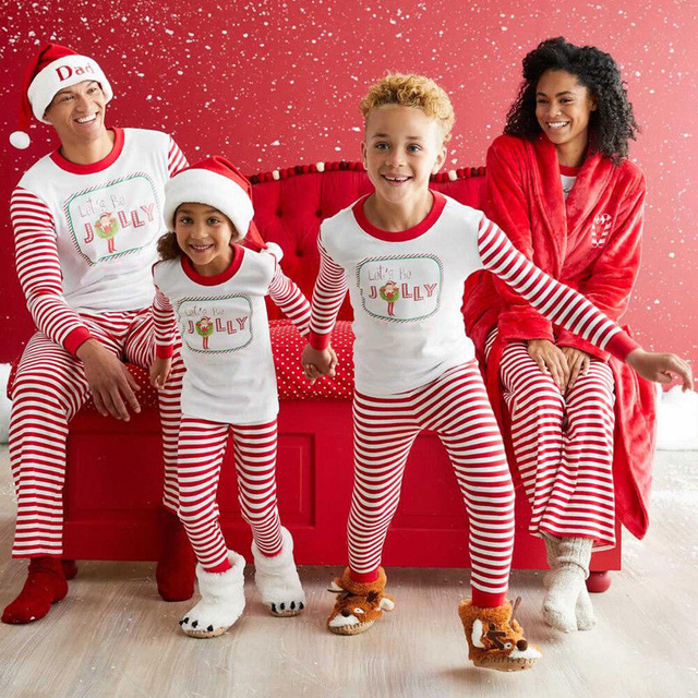 Family Matching Outfits mother father daughter son Christmas Pajamas PJs  Sets Xmas Sleepwear Nightwear Striped Tops 807e8926d