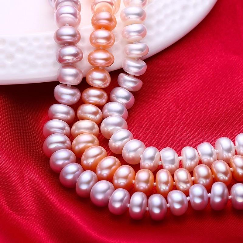 Hvit Naturlig Ferskvann Perle Halskjede For Kvinner 8-9mm Halskjede - Mote smykker - Bilde 5
