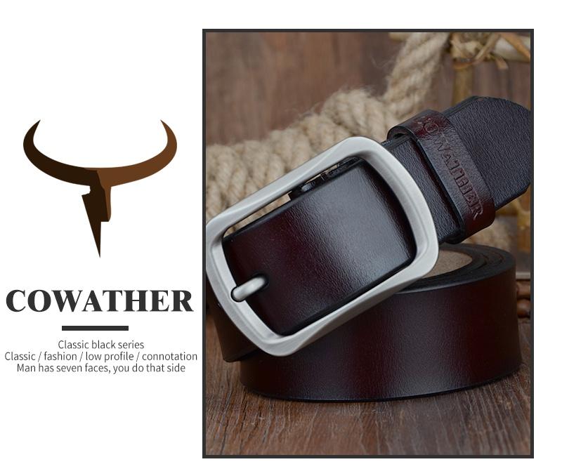 حزام COWATHER جلد طبيعي للرجال 37