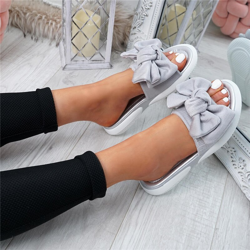 SHUJIN Bow Flats Sandals Women Ladies Shoes 2020 Torridity New Fashion Slip On Peep Toe Casual Shoes Female Sandals Size 35-43