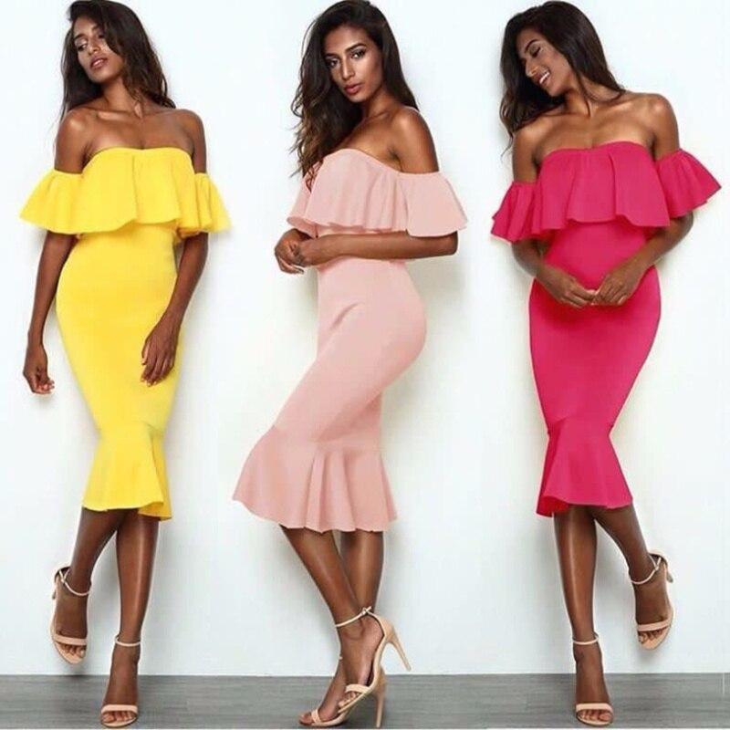 2017 nouveau femmes robe Sexy épaule dénudée à manches courtes Slash cou moulante robe célébrité fête bleu rose jaune robes Vestidos
