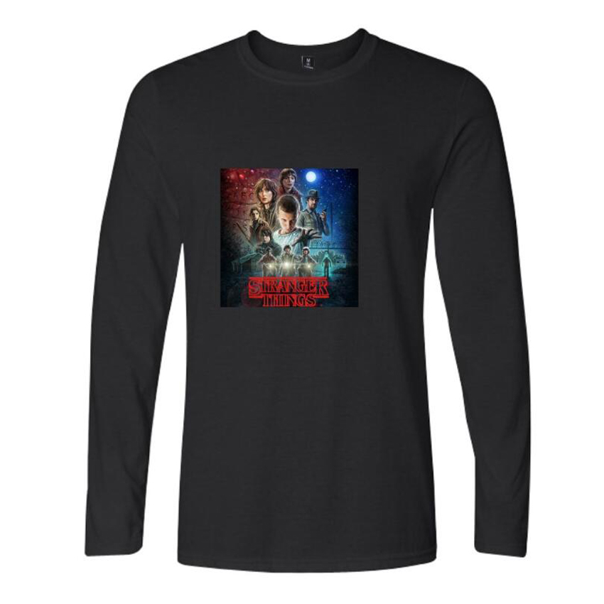 New TV Show Stranger Things T Shirt Men Long Sleeve O-Neck Cotton Tee Shirt Homme Funny Hipster Cool Male Tops Tees Plus Size