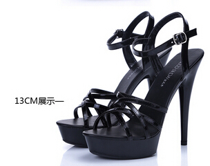 ФОТО Plus:34-44 Summer ladies CDTS sandals 2016 fashion 15cm thin heels platform japanned leather sexy high-heeled shoes female pumps