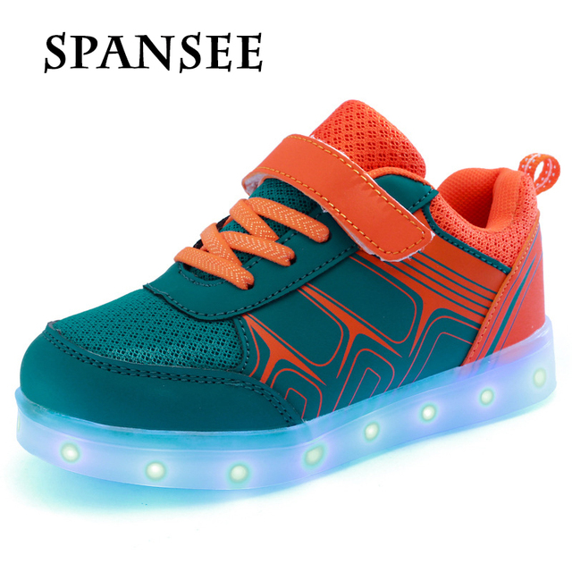 Size 25-37 Good Quality USB Charge LED Shoes with Light Up Glowing Luminous Sneakers for Baby Tenis LED Slippers