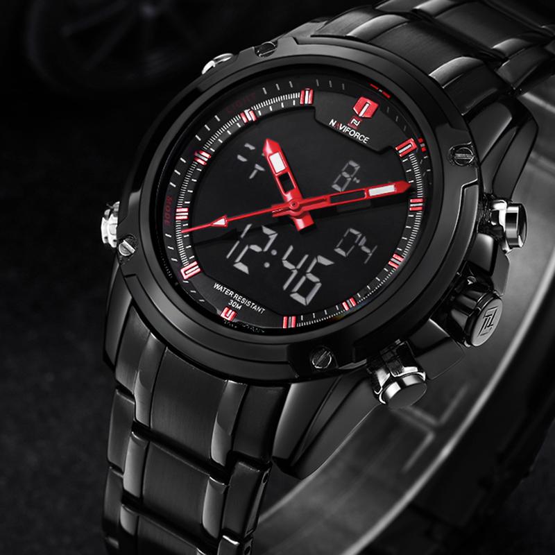 Prix pour NAVIFORCE D'origine Marque De Luxe En Acier Inoxydable Quartz Montre Hommes Horloge LED Numérique Armée Militaire Sport Montre-Bracelet relogio mascul