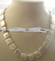 Free Shipping>>WOW! freshwater pearl white square necklace nature