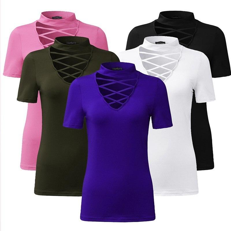 CELMIA Summer Women Blusas 2020 Chocker Low Cut Hollow Out Blouses Short Sleeve Shirts Plain Slim Solid Tees Oversize Tops S-4XL