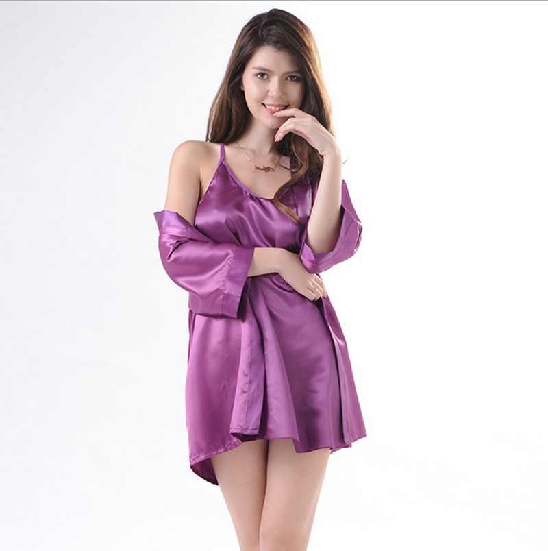 Women Sexy Silk Satin Bride Gown Robes Lingerie Kimono Solid Nightdress Bathrobe  Sleepwear Pajamas Set 5c7f70463