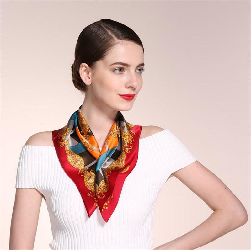 b04651506ab 100% Pure silk Geometric printed scarf New fashion women's Work wear ...