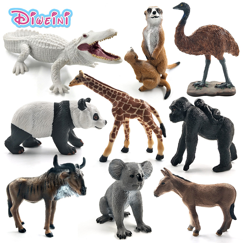 White Crocodile Panda Chimpanzee Wildebeest Koala Deer Swan Animal Model Figure Figurine Home Decor Decoration Accessories Toys