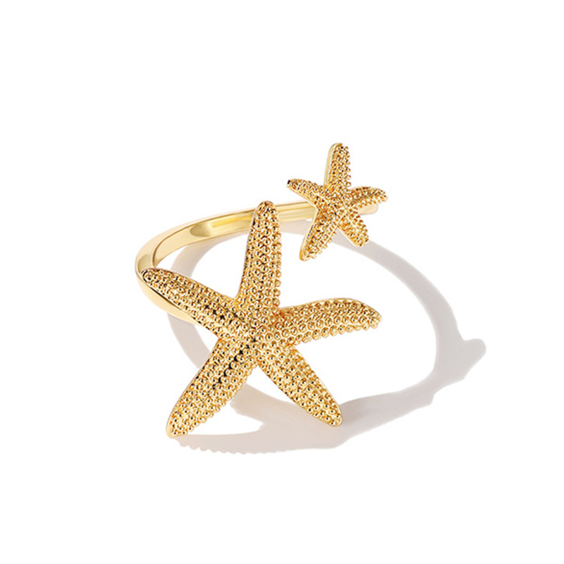 Finger-Rings Open-Cuff Starfish Beach-Jewelry Gold Silver-Color Girls Fashion Party Bohemia