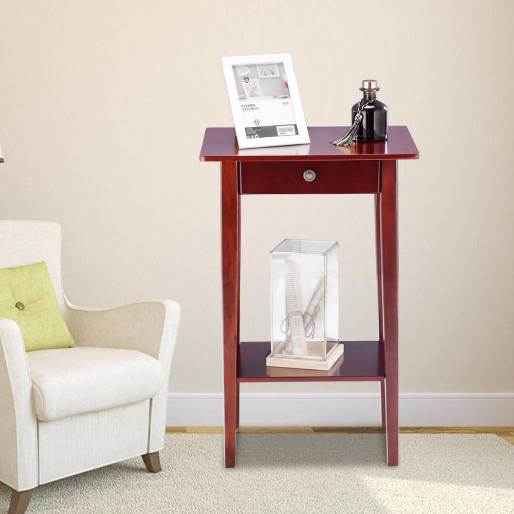 End Table For Living Room Us 45 99 Giantex End Table Tall Wood Side Table Accent Style Telephone Stand Table Drawer Shelf Living Room Furniture Hw57881 In Console Tables From