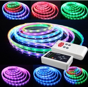 цена на 5M 6803 IC 5050 digital RGB Led Strip 150 LEDs IP67 tube waterproof dream magic color DC12V Flexible Light+RF Remote Controller