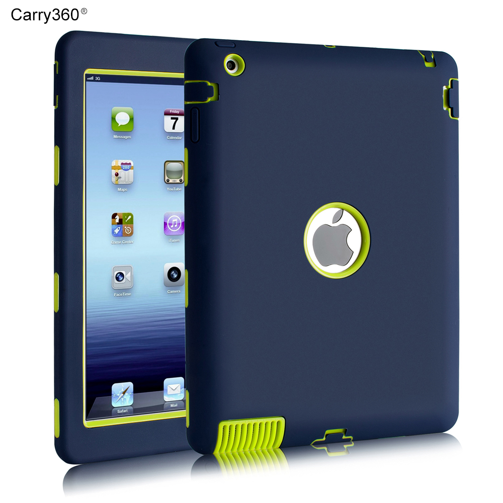Case for iPad 4 Carry360 Silicone Heavy Duty Armor Shockproof Case Cover for Apple iPad 2