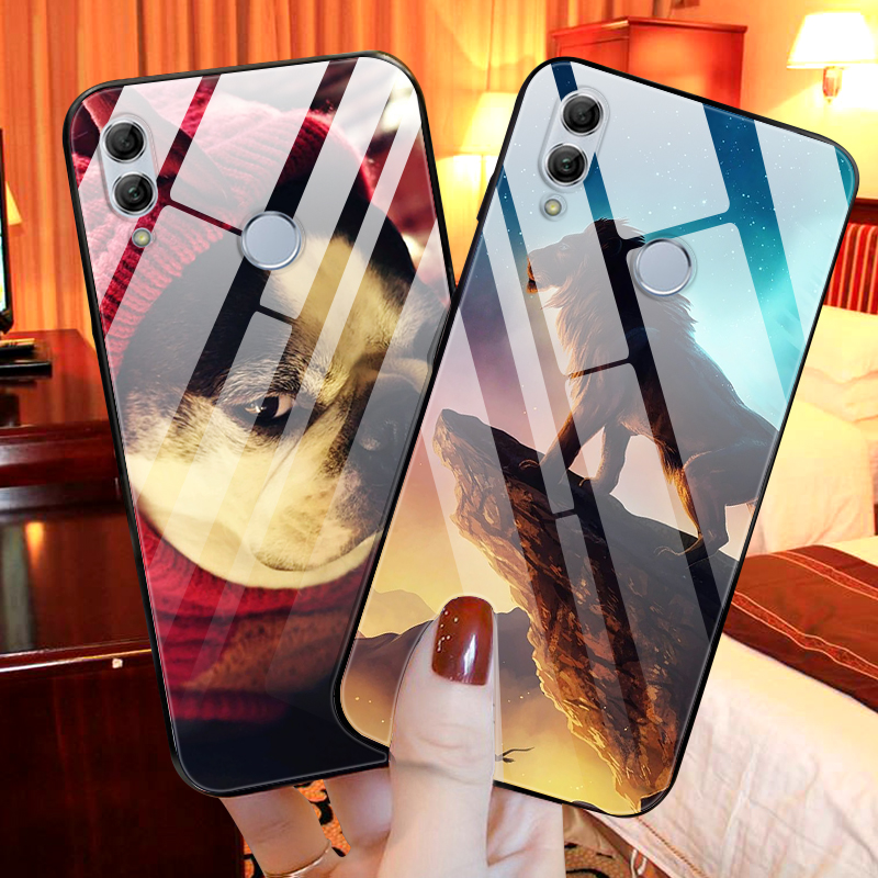 For Huawei Honor 10 Lite Case Cute Pattern Glass Back Hard Cover Case For Huawei Honor 10 Lite Phone Bumper Housing Funda light in Phone Bumpers from Cellphones Telecommunications