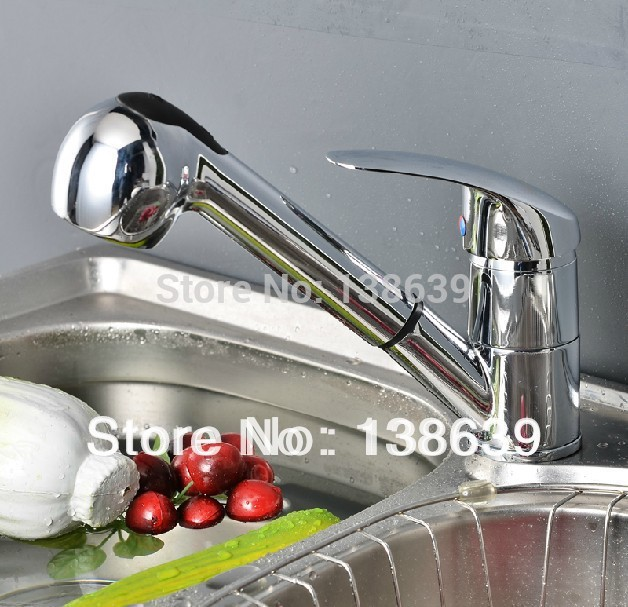 Free shipping Fashion brass Polished Chrome Finished Pull Out Spout Kitchen Sink Mixer Tap Faucet big