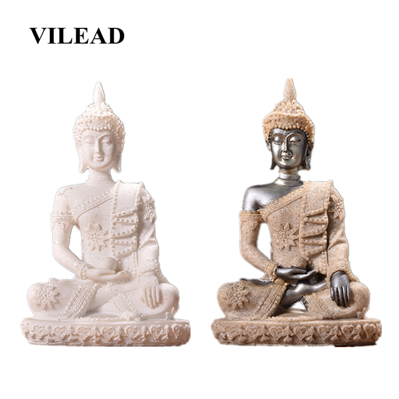 VILEAD 4.3'' Natural Sandstone Female Buddha Statue Thailand Home Decoration Accessories Living Room Porch Figurines Decorations