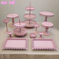 12 Pieces Cake Stand Set For Birthday Party Supplier For Baby Girl Metal Cupcake Stand Decorator