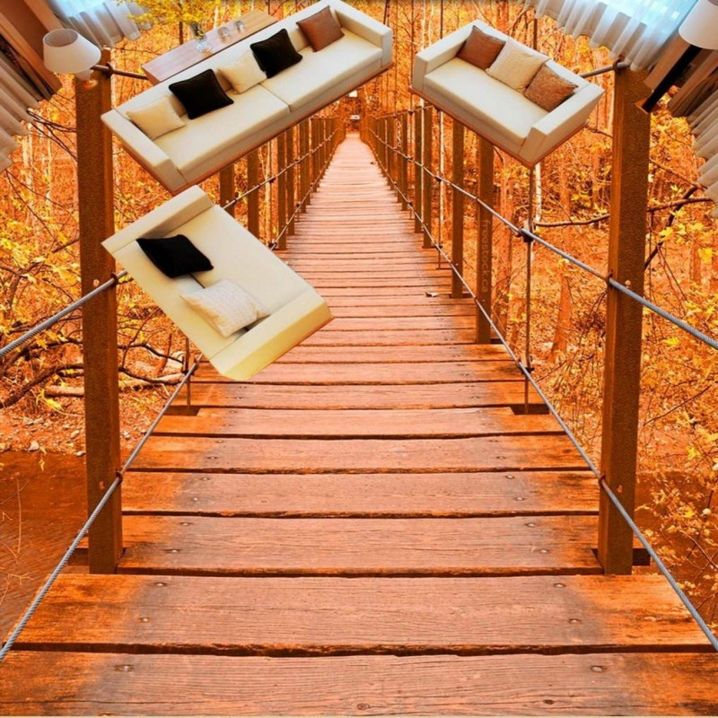 Free Shipping custom wooden bridge autumn tree wood bathroom 3D Self-adhesive shopping mall square floor mural wallpaper [] every day special offer wooden wood self defense stick home car wooden baseball bat hard wooden club club