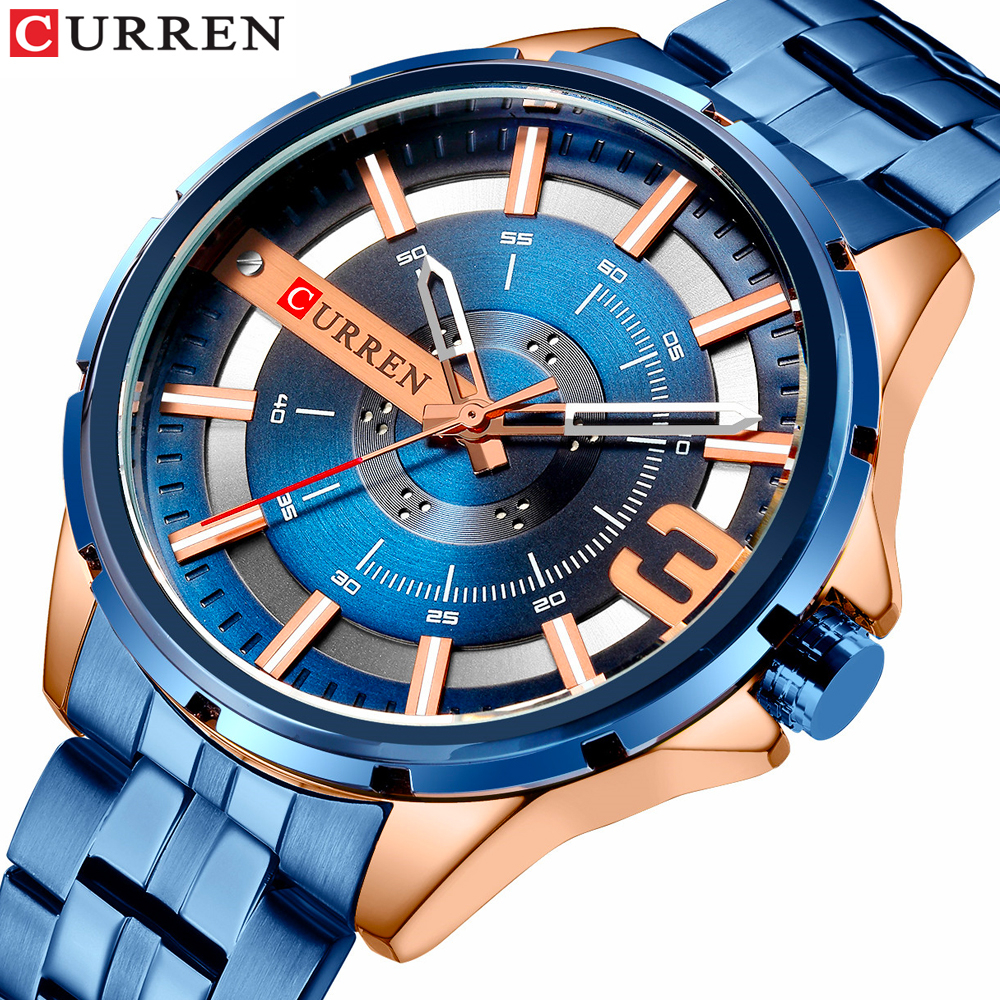 CURREN Blue Men's Watch Fashion Unique Design Wristwatches Stainless Steel Band Quartz Watches Top Brand Luxury Watch Male Reloj