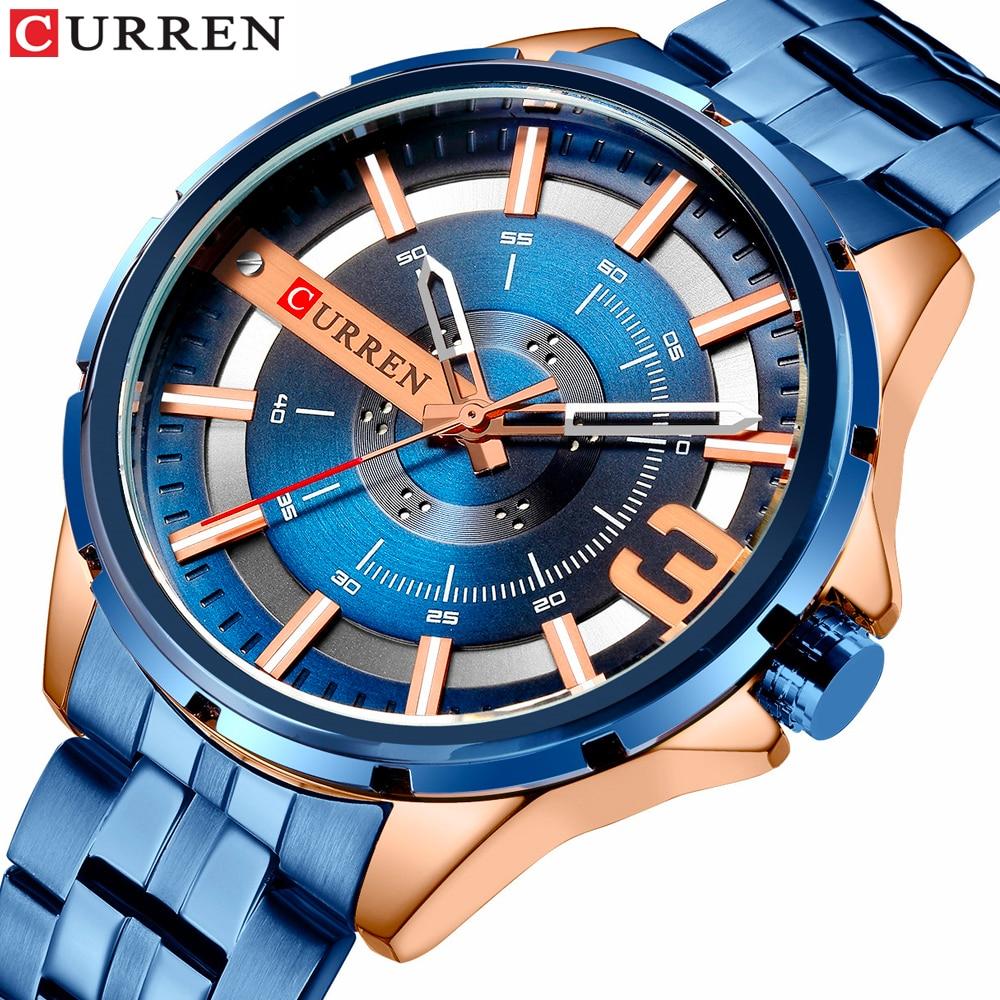 CURREN Blue Men's Watch Fashion Unique Design Wristwatches Stainless Steel Band Quartz Watches Top Brand Luxury Watch Male Reloj