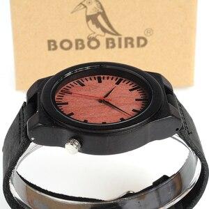 Image 5 - בובו ציפור WB13 אבוני עץ שעון מגניב לסחוב על 4 שעה עץ פנים חיוג רצועת עור שעונים לגברים