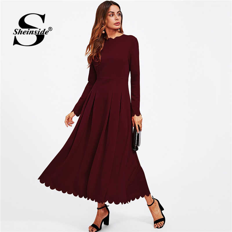42f16cd804 Sheinside Elegant Women Party Dress Autumn Clothes 2018 Long Dress Scallop  Edge Boxed Pleated Fit &
