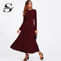 Sheinside Elegant Women Party Dress Autumn Clothes 2018 Long Dress Scallop Edge Boxed Pleated Fit & Flare Ladies Maxi Dresses