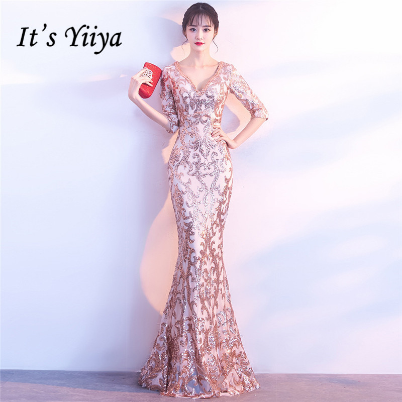 It's Yiiya Evening dresses V-neck Sequined Zipper back Party Gowns Crystal Half sleeves Floor-length Mermaid Prom dress C183