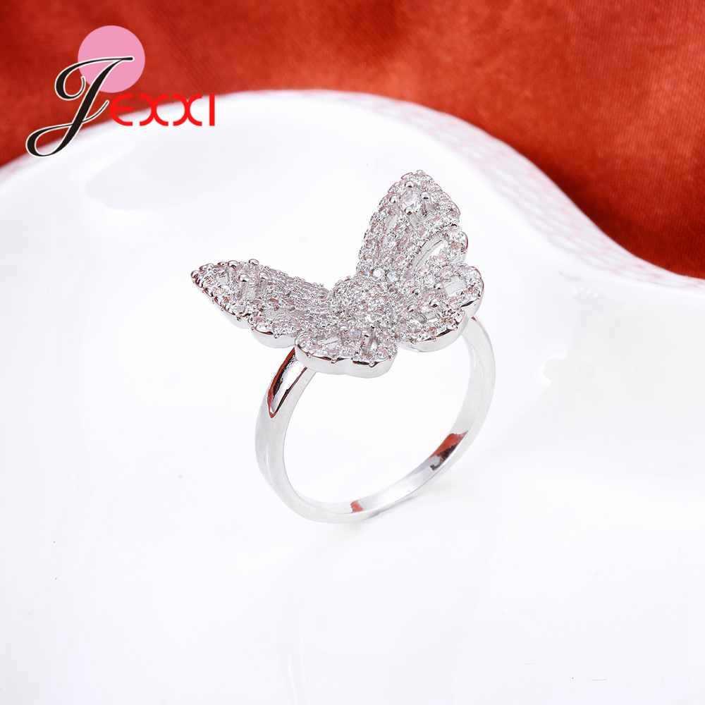 น่ารักผีเสื้อแหวน 925 เงินสเตอร์ลิง feminino anel aneis bague zirconia คริสตัลแหวนเครื่องประดับ