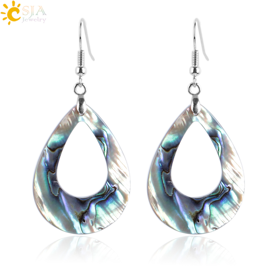 ABALONE SQUARE DROP SILVER PLATED EARRINGS