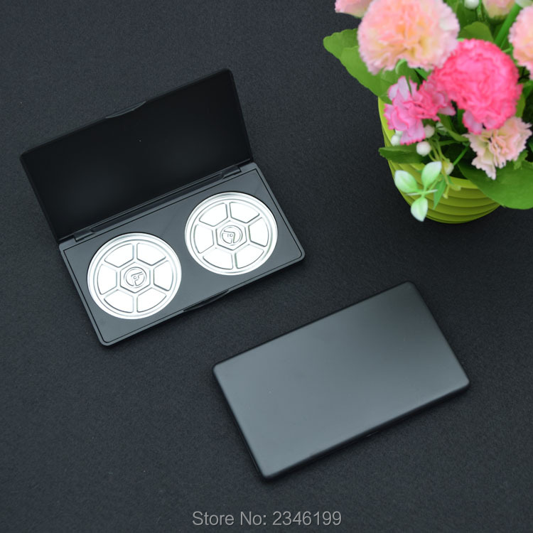 4pcs/lot 2girds 59mm Cosmetic Powder Packing Box with Pans, Empty Matte Black Blush Compacts, Plastic DIY Eyeshadow Powder Case 1pcs lot battery holder box case 3x aa 4 5v with switch