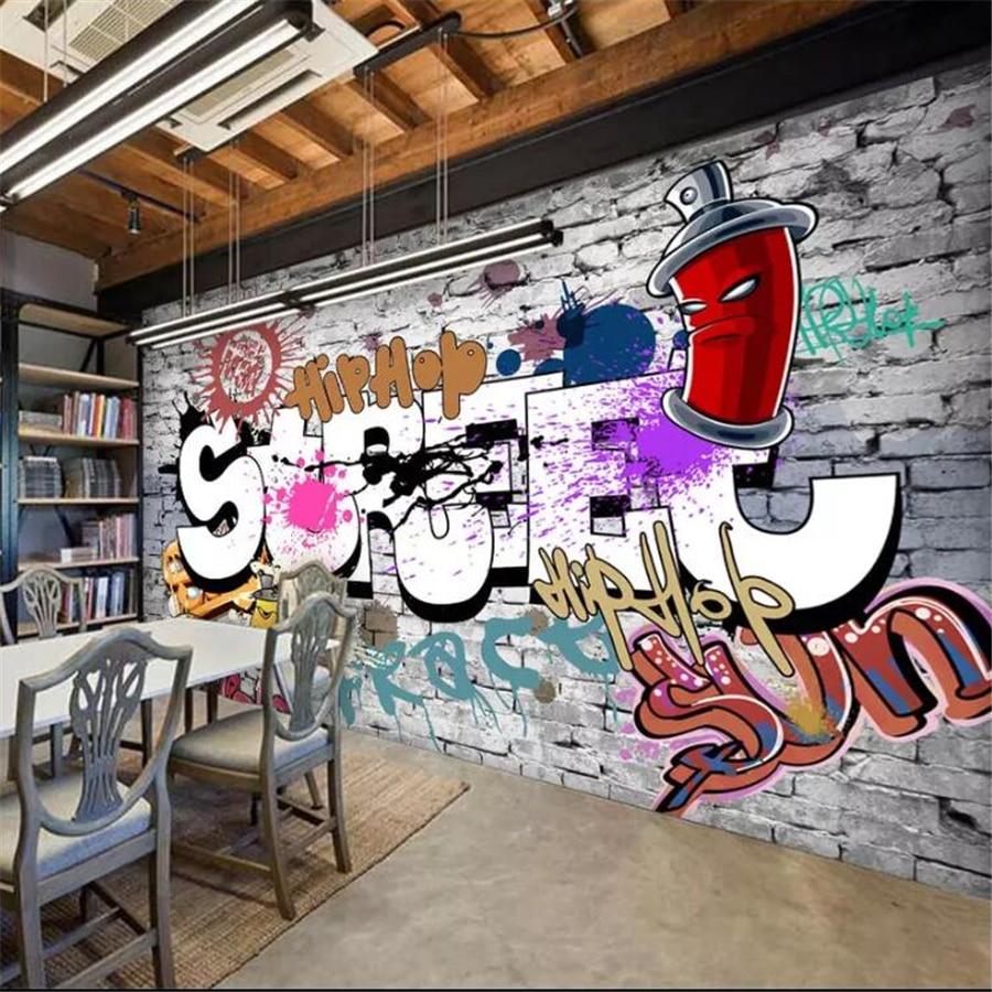 Beibehang wallpaper kustom 3d mural eropa dan amerika serikat retro grafiti bar restoran kertas dinding dekorasi rumah wallpaper di wallpaper dari perbaikan