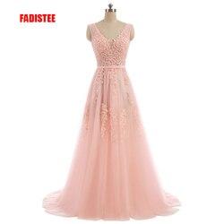 Женское кружевное платье FADISTEE, розовое длинное вечернее платье с треугольным вырезом и открытой спинкой, платья для выпускного с жемчугом н...