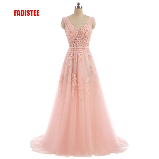 FADISTEE Vestido דה Festa מתוק ורוד תחרה V-צוואר ארוך שמלת ערב הכלה המפלגה סקסית ללא משענת חרוזים פניני שמלות נשף